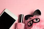 fashion flat lay pink pastel background