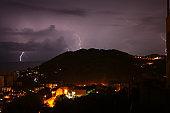 lightning strikes in the sky