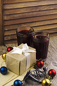 mulled wine, christmas balls, gift box
