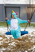 woman in unicorn costume