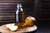 fresh apple drink in a glass bottle