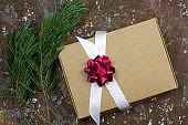 festive gift boxes brown shabby vintage background