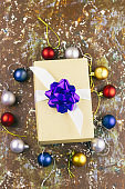 top view christmas gift box shabby brown background