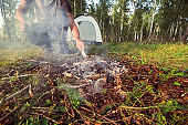 manin forest , active outdoor recreation, camping