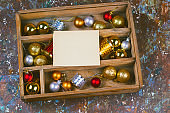 wooden box with christmas decorations