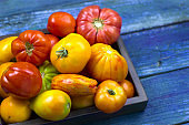 fresh organic farm tomatoes on a wooden tray