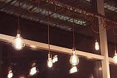 retro lamps in coffee shop