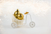 decorative bike with christmas decorations in the basket