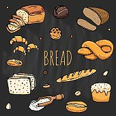 Bread icons set