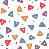 Repeated triangles and round dots. Geometric seamless pattern. Drawn by hand, sketch, doodle. Endless print for children.