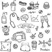 Hand drawn doodle Weight loss icons set