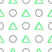 Seamless pattern with geometric shapes. Circles and triangles drawn by hand. Sketch, ink, brush strokes, watercolor.
