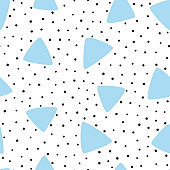 Irregular polka dot and triangles drawn by hand. Modern seamless pattern. Sketch, doodle.