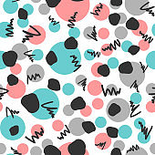 Abstract geometric seamless pattern. Repeated circles and scribbles drawn by hand.