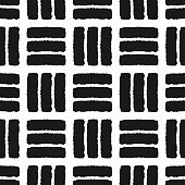 Simple ornament of short lines. Painted by a rough brush. Seamless pattern. Grunge.