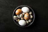 Eggs in a bowl on black background