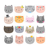 Set of cute fashion cats. Funny doodle animals. Kittens in cartoon style
