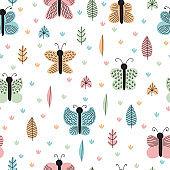 Hand drawn seamless pattern with butterflies and moths. Creative Scandinavian childish background. Stylish decorative elements