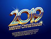Vector luxury Merry Christmas 2019 Greeting Card. Elegant 3D Alphabet