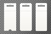Set of empty ticket templates isolated on transparent background. Blank tickets mockup for entrance to the concert