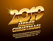 Vector Merry Christmas 2019 luxury Greeting Card with Golden 3D Font