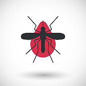 Mosquito and blood vector flat icon