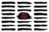 Brush strokes collection. Hand drawn brush strokes, black paint strokes and ink lines. Design elements, text boxes