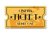 Cinema ticket isolated on background. Vintage admission movie ticket template