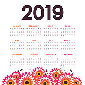 Vector of 2019 new year calendar with flowers