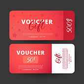 Voucher template. Design usable for gift coupon, voucher, invitation,