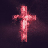 Christian cross symbol. Abstract night sky background.
