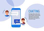 Communication, chatting. Isometrics Flat style.