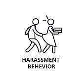 harassment behevior thin line icon, sign, symbol, illustation, linear concept, vector