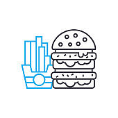 Hamburger & french fries linear icon concept. Hamburger & french fries line vector sign, symbol, illustration.