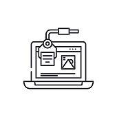 Digital design line icon concept. Digital design vector linear illustration, symbol, sign