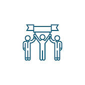 Successful team linear icon concept. Successful team line vector sign, symbol, illustration.