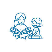 Reading fairy tales linear icon concept. Reading fairy tales line vector sign, symbol, illustration.