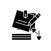 Marketing Portfolio black icon, concept vector sign on isolated background. Marketing Portfolio illustration, symbol