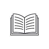 Open book line icon concept. Open book vector linear illustration, symbol, sign