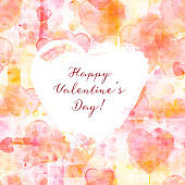 Happy Valentine's Day. A frame with hand drawn watercolor hearts, a romantic texture and copy space, a design template