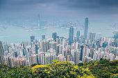 Modern buildings and sea from Victoria peak in Hong Kong