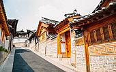 Korean traditional house at Bukchon Hanok village in Seoul, Korea