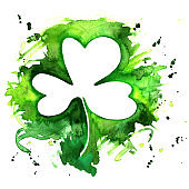 A watercolor drawing of a shamrock, an Irish clover, with a grunge texture and copy space, a design template for a St Patrick's Day greeting card or invitation with a place for text
