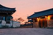 Gyeongju Gyochon Hanok Village, Korean traditional house and sunset view