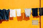 Laundry hanging on rope in Burano island, Venice, Italy