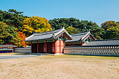 Namhansanseong Fortress, Korean old traditional architecture at autumn