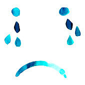 Blue. Abstract vector sad face with tears, hand painted in watercolor, depression concept