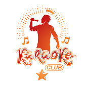 Vector illustration of content man singing, soloist holds a microphone in hand. Karaoke club, feel yourself famous superstar.
