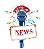 3d microphone vector illustration with news label. Broadcasting concept, social, economical, political news reporting.