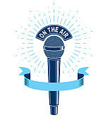 3d microphone vector illustration isolated on white. Radio music station advertising emblem, on the air. Social announcement, broadcasting concept.